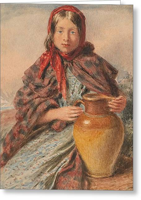 Pitcher Paintings Greeting Cards - Cottage girl seated with a pitcher Greeting Card by William Henry Hunt