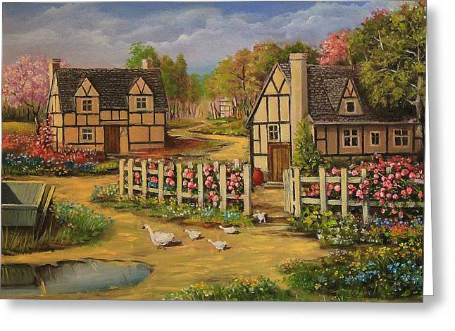 Old Street Greeting Cards - Cottage House Greeting Card by Radoslav Nedelchev