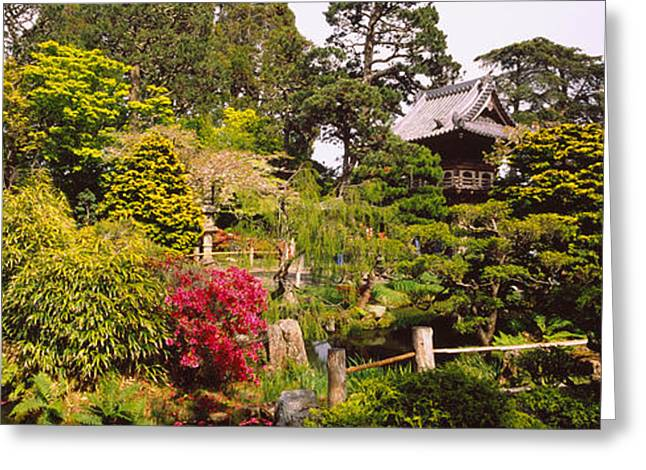 Tea Tree Flower Greeting Cards - Cottage In A Park, Japanese Tea Garden Greeting Card by Panoramic Images