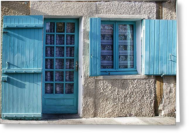 Lace Curtains Greeting Cards - Cottage in France Greeting Card by Nomad Art And  Design