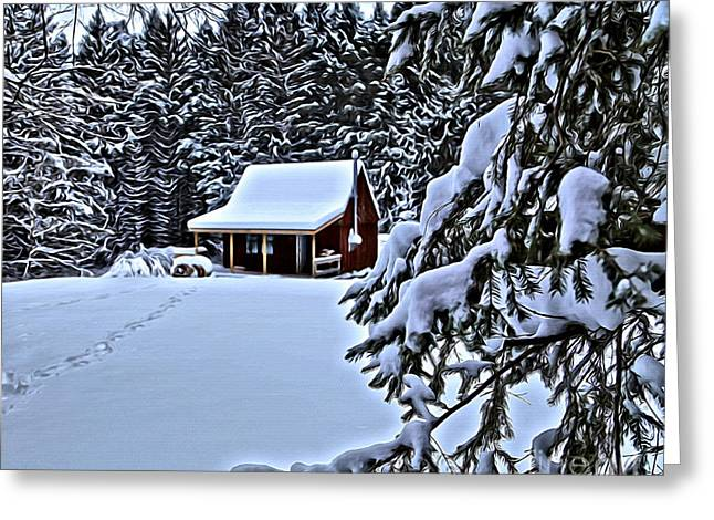 Deer Camp Greeting Cards - Cottage In Snow Greeting Card by Steve Ratliff