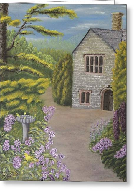 Cottage In The Woods Greeting Card by Lou Magoncia