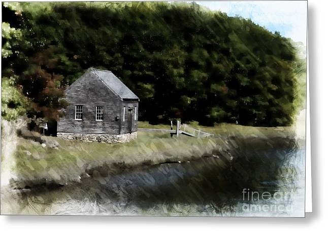 New England Village Greeting Cards - Cottage In The Woods Greeting Card by Marcia Lee Jones