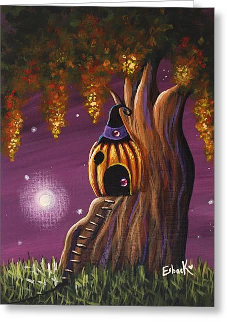 Cottage In The Woods Original Pumpkin Artwork Greeting Card by Shawna Erback