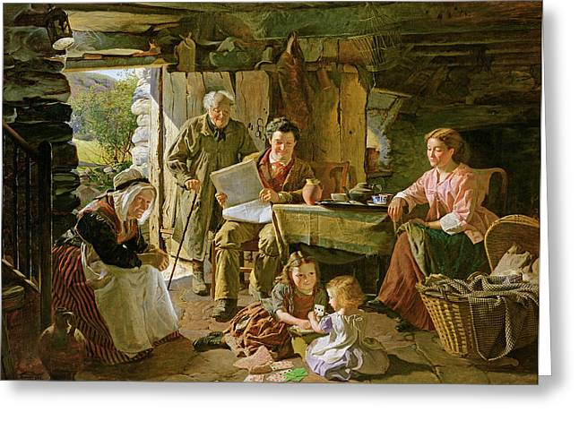 Grandmother Greeting Cards - Cottage Interior, 1868 Oil On Canvas Greeting Card by William Henry Midwood