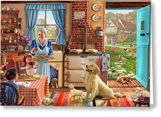 Cottage Interior Greeting Card by Steve Crisp