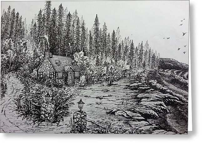 Country Cottage Drawings Greeting Cards - Cottage Greeting Card by Jason Zheng