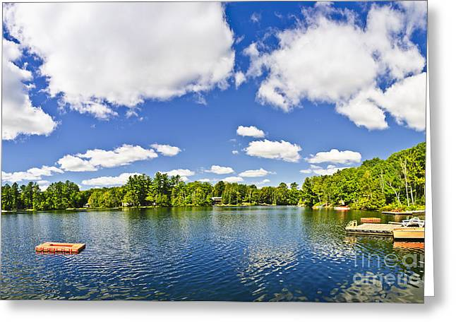 Parry Sound Greeting Cards - Cottage lake with diving platform and dock Greeting Card by Elena Elisseeva