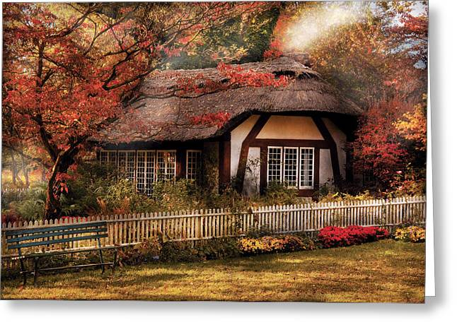 Old House Photographs Greeting Cards - Cottage - Nanas House Greeting Card by Mike Savad