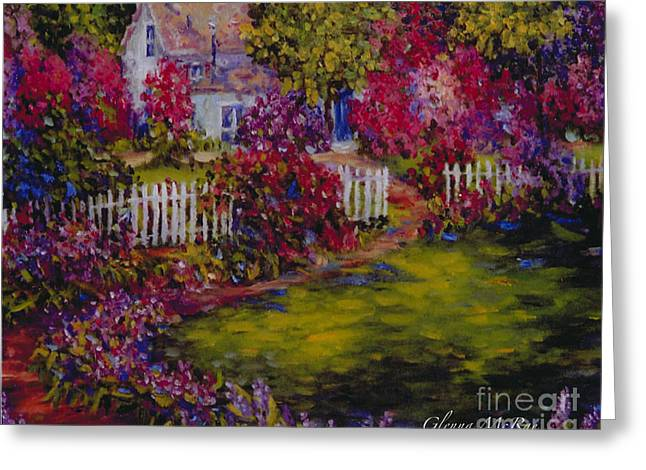Dappled Light Greeting Cards - Cottage of My Hearts Delight Greeting Card by Glenna McRae
