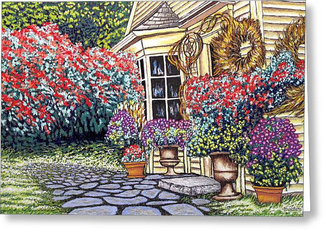 Lawn Chair Mixed Media Greeting Cards - Cottage of the White Witch Greeting Card by David Linton