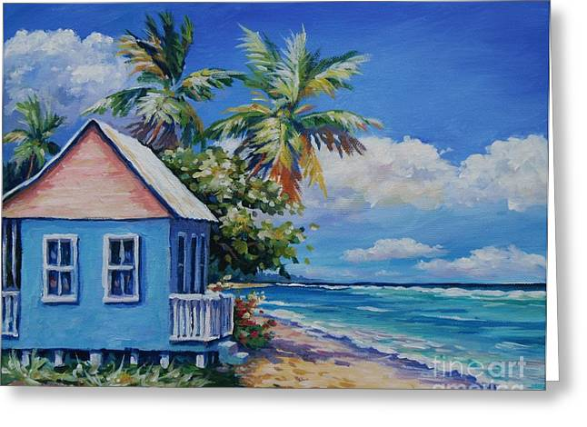 Carlton Greeting Cards - Cottage on the Beach Greeting Card by John Clark
