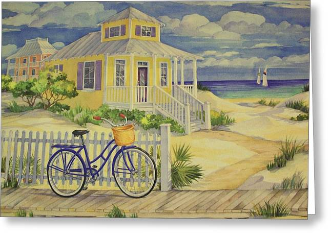 Blue Sailboat Mixed Media Greeting Cards - Cottage On The Beach  Greeting Card by Movie Poster Prints