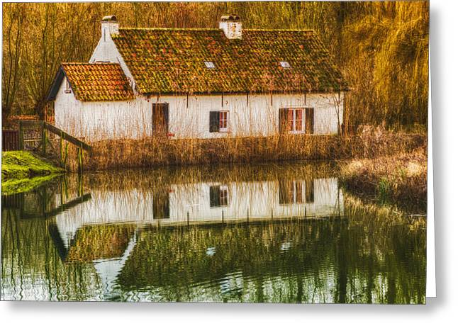 Decor Photography Greeting Cards - Cottage Reflection Greeting Card by Wim Lanclus