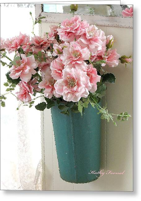 Pink Flower Prints Greeting Cards - Cottage Shabby Chic Hanging Basket Pink Flowers Greeting Card by Kathy Fornal