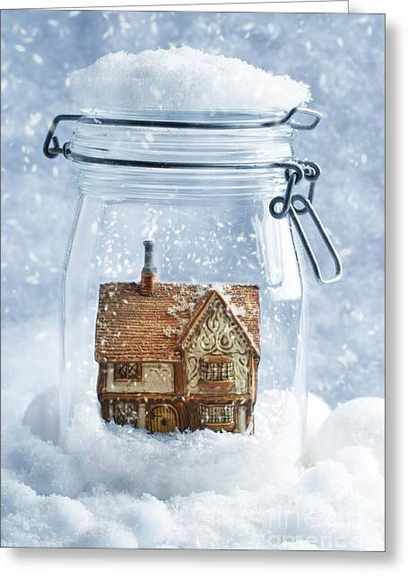 Snowball Greeting Cards - Cottage Snowglobe Greeting Card by Amanda And Christopher Elwell