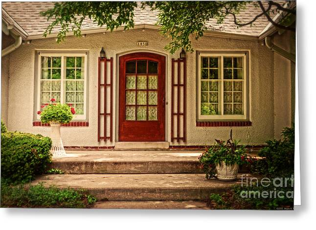 Trellis Greeting Cards - Cottage with a Red Door Greeting Card by Mary Machare