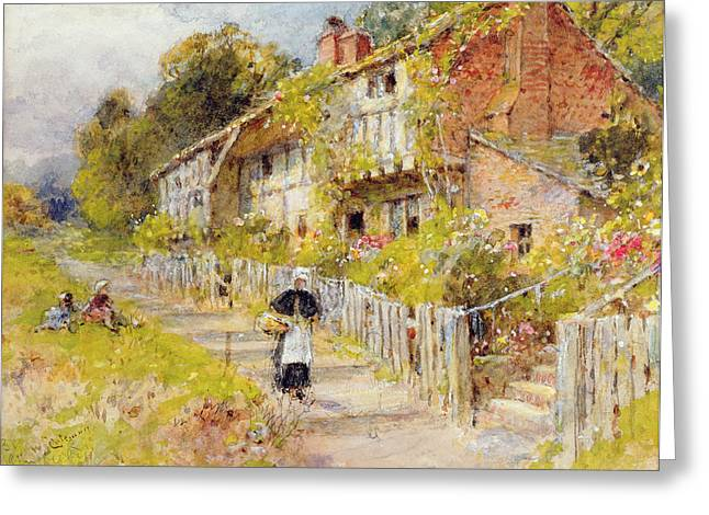 Tranquil Drawings Greeting Cards - Cottages - A Row Of Cottages Greeting Card by William Stephen Coleman