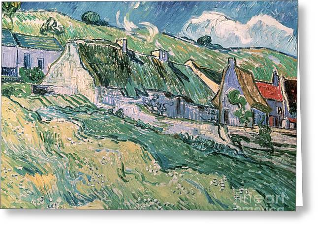 Cottages At Auvers Sur Oise Greeting Card by Vincent Van Gogh