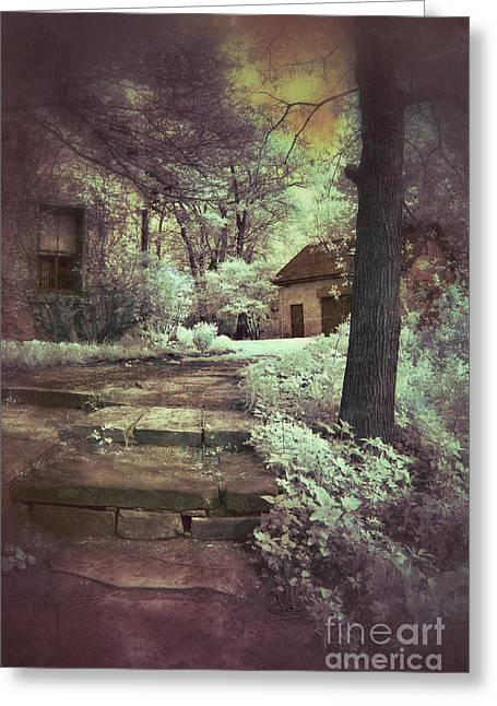 Old Cabins Greeting Cards - Cottages in the Woods Greeting Card by Jill Battaglia