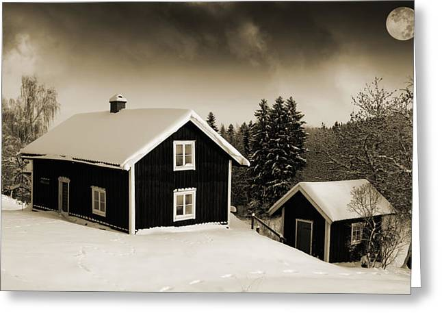 Snow Scape Greeting Cards - Cottages In Wintery Snow With Moonlight Greeting Card by Christian Lagereek