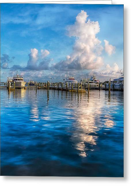 Docked Boat Greeting Cards - Cotton Candy Greeting Card by Debra and Dave Vanderlaan