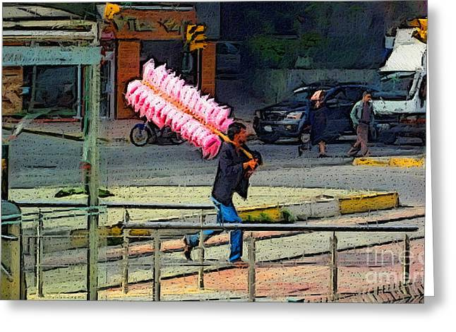 Istanbul Mixed Media Greeting Cards - Cotton Candy Greeting Card by John Kreiter