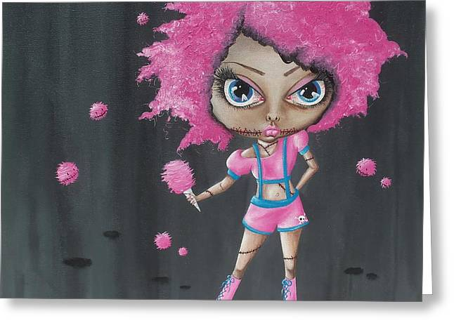 Oddball Art Greeting Cards - Cotton Candy Zombie Greeting Card by Oddball Art Co by Lizzy Love