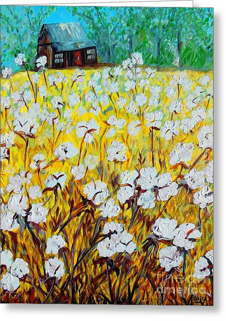 Ready For Harvest Greeting Cards - Cotton Fields Back Home Greeting Card by Eloise Schneider