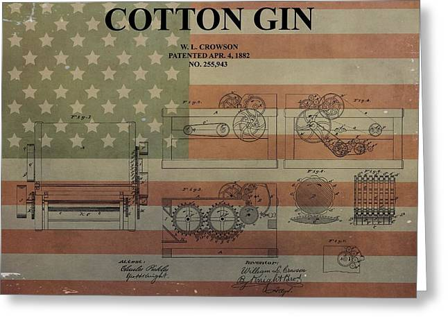 Cotton Gin Patent Aged American Flag Greeting Card by Dan Sproul