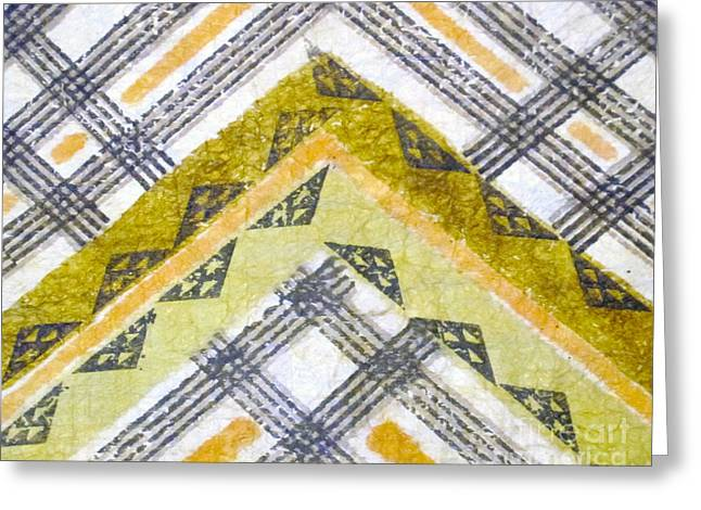 Traditional Tapestries - Textiles Greeting Cards - Cotton on Kapa is a Color Greeting Card by Dalani Tanahy