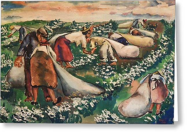 """""""cotton Pickers"""" Greeting Cards - Cotton Pickers Greeting Card by Maxwell Mandell"""