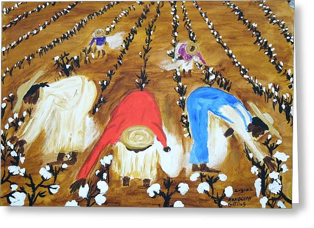 Sharecrop Greeting Cards - Cotton Picking People Greeting Card by Randolph Gatling