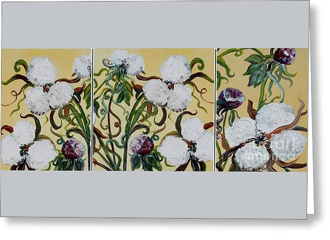 Cotton Triptych Greeting Card by Eloise Schneider