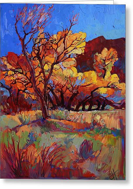 Zion National Park Greeting Cards - Cottonwood Flame Greeting Card by Erin Hanson