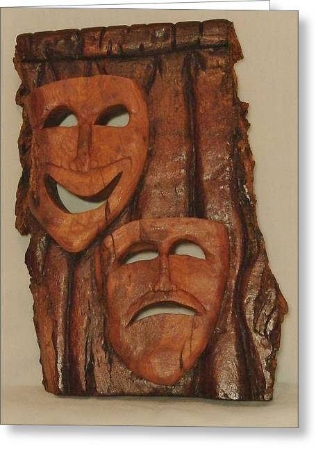 Theater Sculptures Greeting Cards - Cottonwood Theater Happy/Sad Masks Greeting Card by Russell Ellingsworth