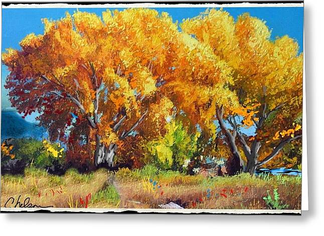 Rivers In The Fall Mixed Media Greeting Cards - Cottonwoods along the Colorado Greeting Card by Craig Nelson