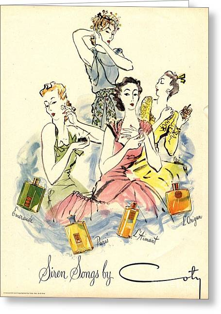 Vintage Drawings Greeting Cards - Coty 1940s Uk Womens Greeting Card by The Advertising Archives