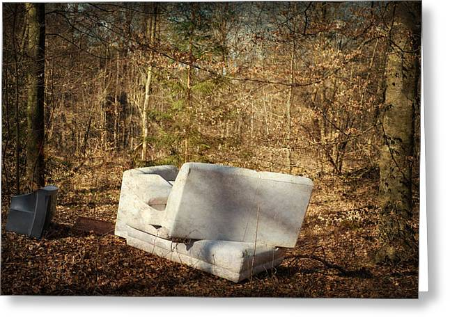 Tv Set Greeting Cards - Couch and TV in the forest Greeting Card by Matthias Hauser