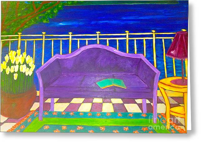 Purple Couch Greeting Cards - Couch on Veranda by Seaside Greeting Card by Ilona  Metcalfe