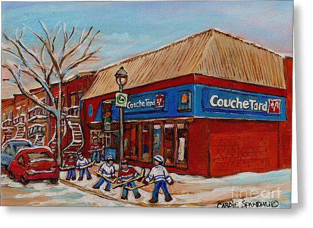 Montreal Staircases Greeting Cards - Couche Tard Rue Wellington Verdun Street Scene Montreal Hockey Art Carole Spandau Greeting Card by Carole Spandau