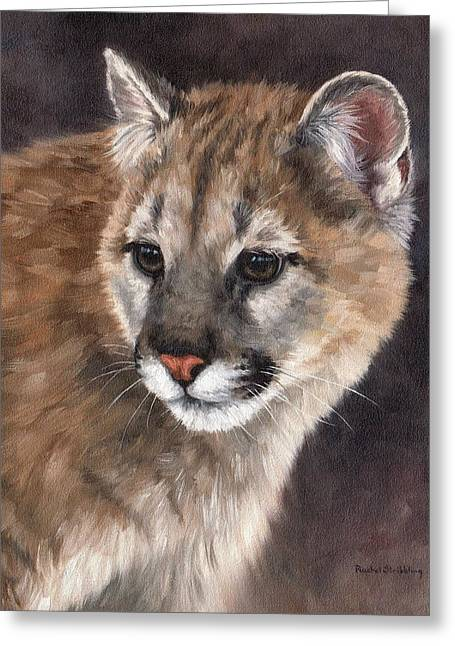 Cougar Greeting Cards - Cougar Cub Painting Greeting Card by Rachel Stribbling