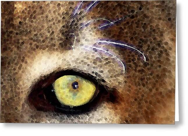 Cougars Greeting Cards - Cougar Eye Greeting Card by Sharon Cummings