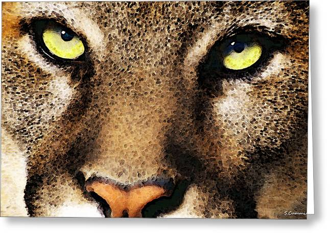 Wall Art Framed Prints Greeting Cards - Cougar Eyes Greeting Card by Sharon Cummings