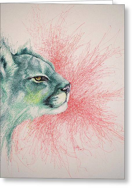 Photorealism Greeting Cards - Cougar  Greeting Card by Fithi Abraham