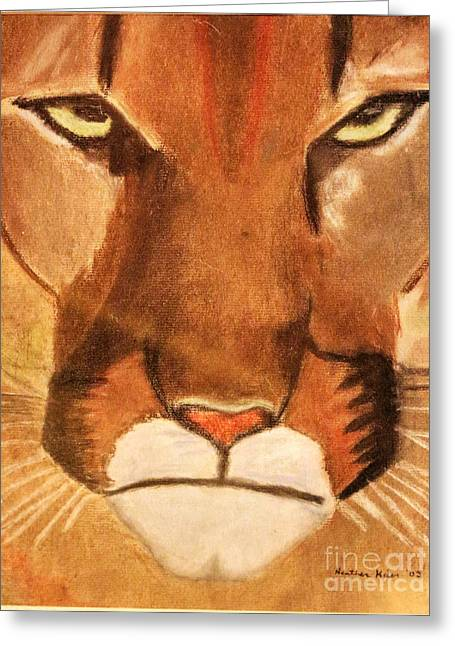 Wild Life Pastels Greeting Cards - Cougar Greeting Card by Heather Kiser