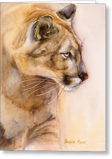 Large Cats Greeting Cards - Cougar on the Prowl Greeting Card by Bonnie Rinier