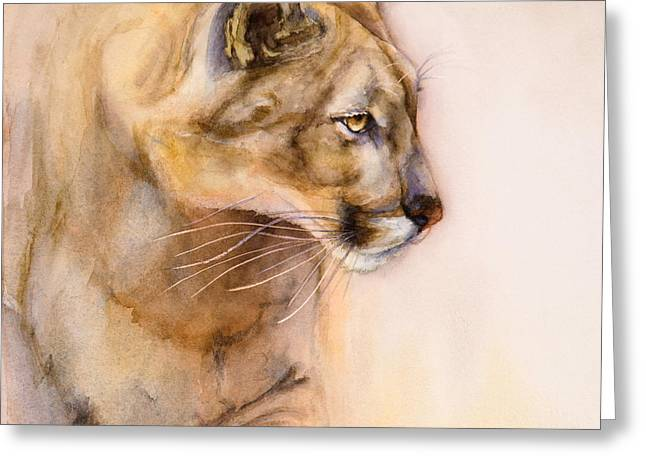Cougar Greeting Cards - Cougar on the Prowl Greeting Card by Bonnie Rinier