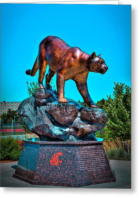 David Patterson Greeting Cards - Cougar Pride Sculpture - Washington State University Greeting Card by David Patterson