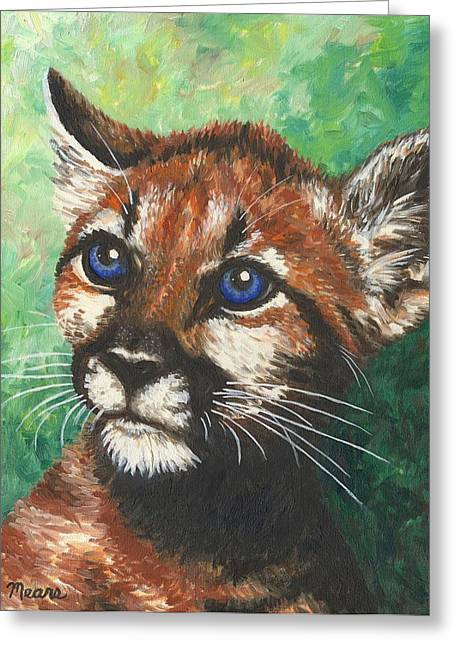 Cougar Prince Greeting Card by Linda Mears